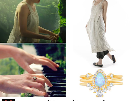Taylor Swift's white dress and stackable rings from the Cardigan music video
