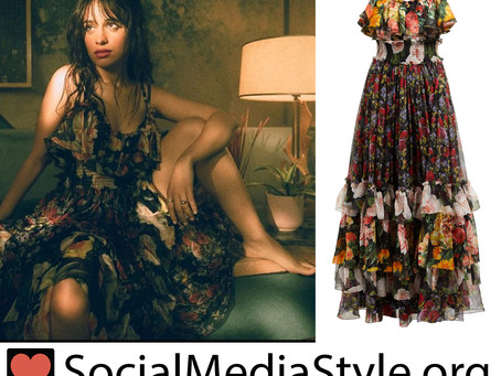 "Camila Cabello's ruffled floral print dress from the ""Señorita"" music video"