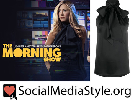 Jennifer Aniston's black tie neck sleeveless top