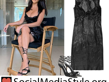 Kourtney Kardashian's black leather dress and lace up sandals