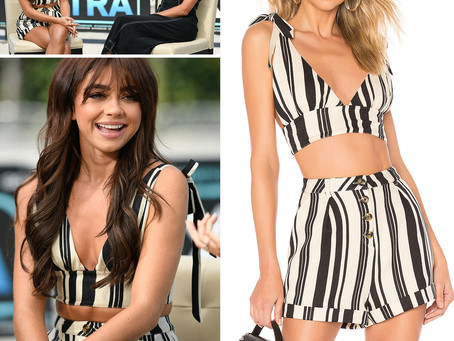 Sarah Hyland's striped crop top and shorts from Extra
