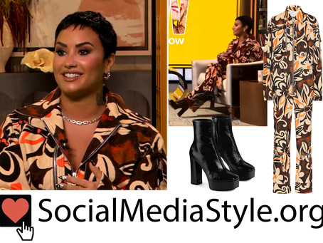 Demi Lovato's retro floral print jumpsuit and platform boots from The Drew Barrymore Show