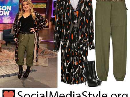 Kelly Clarkson's long leopard cardigan, green pants, and black boots from The Kelly Clarkson Show