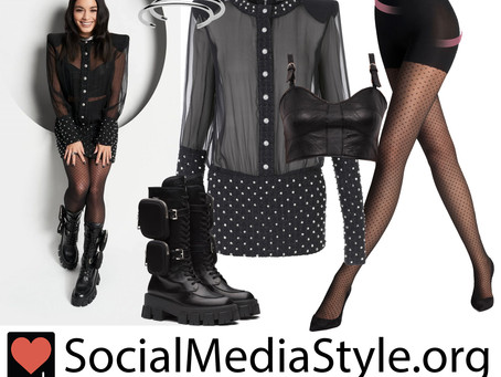 Vanessa Hudgens' sheer black studded dress and accessories from Who What Wear
