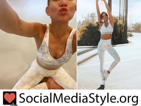 Kate Hudson's Fabletics white print sports bra and leggings
