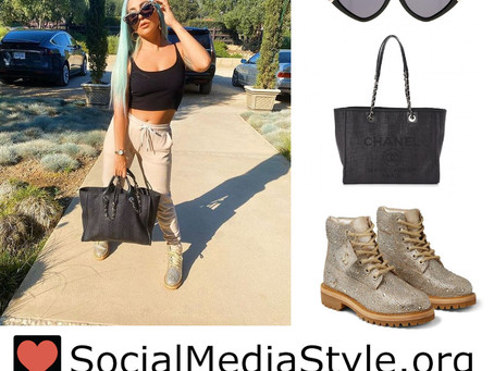Lady Gaga's studded sunglasses, black tote bag, and crystal boots