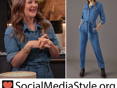 Drew Barrymore's denim jumpsuit from The Drew Barrymore Show