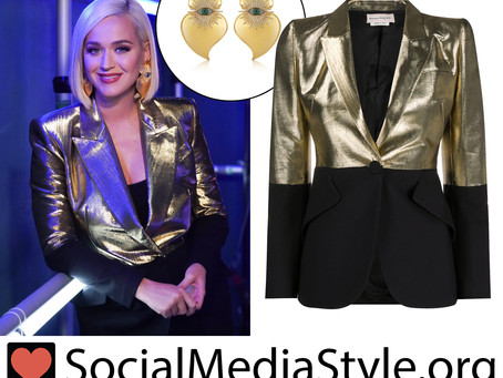 Katy Perry's evil eye earrings and black and gold blazer from American Idol