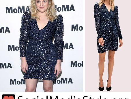 Elisabeth Moss' navy velvet polka dot dress