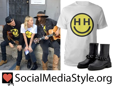 Miley Cyrus' Happy Hippie Foundation t-shirt and Giuseppe Zanotti chain detail boots
