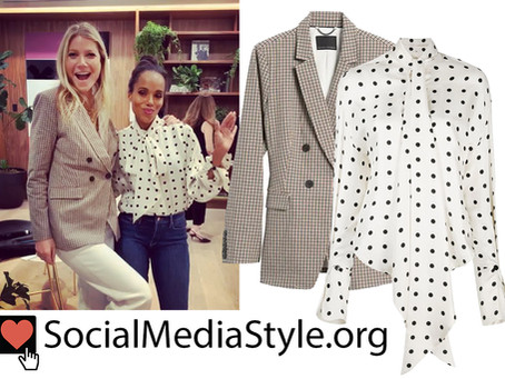 Gwyneth Paltrow's plaid blazer and Kerry Washington's polka dot blouse