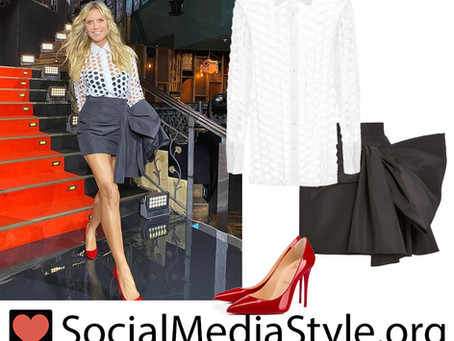 Heidi Klum's cutout white shirt, bow detail skirt, and red pumps from Germany's Next Topmodel