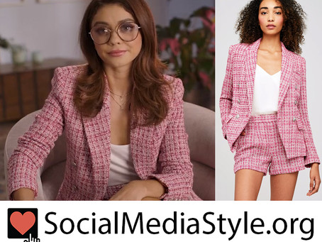 Sarah Hyland's pink tweed blazer and shorts from Lady Parts