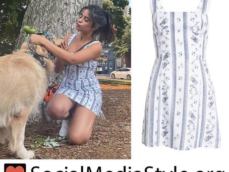 Camila Cabello's white striped floral print mini dress