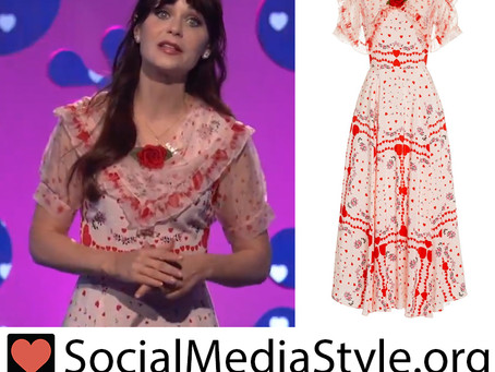 Zooey Deschanel's heart print dress from The Celebrity Dating Game