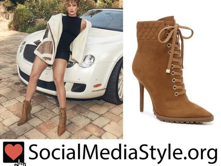 JLO Jennifer Lopez brown booties