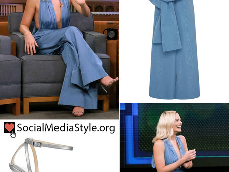 Margot Robbie's blue jumpsuit and silver sandals from The Tonight Show Starring Jimmy Fallon