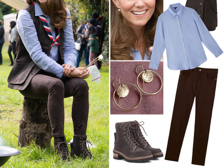 Kate Middleton's circle earrings, blue linen shirt, and brown vest, pants, and boots