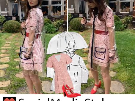 Zooey Deschanel's transparent raincoat, heart print dress, umbrella, and red Mary Janes