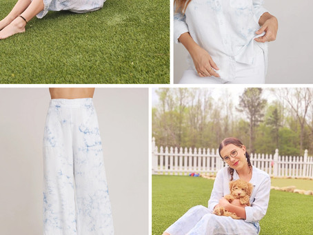 Millie Bobby Brown's blue tie dye button down shirt and wide leg cropped pants