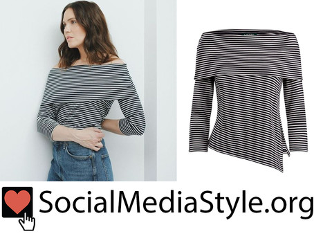 Mandy Moore's striped off-the-shoulder top