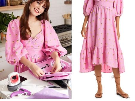 Zooey Deschanel's pink pineapple print balloon sleeve dress