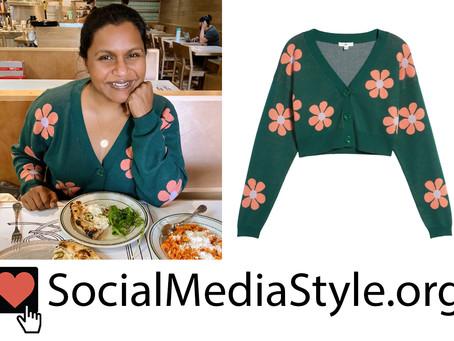 Mindy Kaling's green floral print cardigan