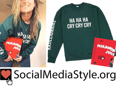 "Olivia Wilde's green ""HA HA HA CRY CRY CRY"" sweatshirt and Miranda July book"