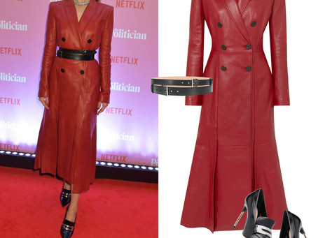 Zoey Deutch's Alexander McQueen red leather dress, double buckle belt, and moccasin pumps