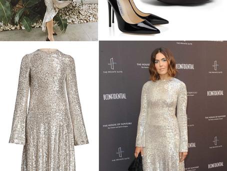 Mandy Moore's silver sequin dress and black accessories LA Confidential Magazine Impact Awards