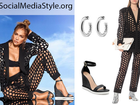 Jennifer Lopez's silver hoops, circle cutout blazer and pants, and wedge sandals