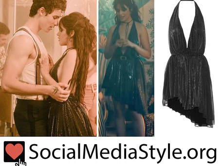 "Camila Cabello's metallic black halter dress from the ""Señorita"" music video"