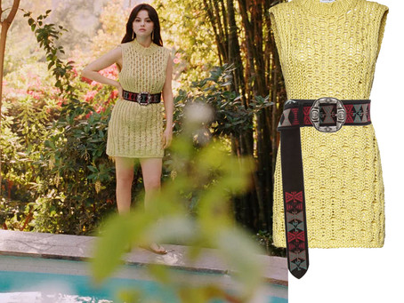 Selena Gomez's yellow knitted dress and embroidered belt from Vogue Magazine