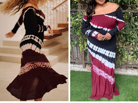 Adele and Mindy Kaling's off-the-shoulder tie dye dress