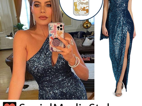 Sofia Vergara's blue sequin one shoulder dress and rainbow leopard phone case from the AGT set