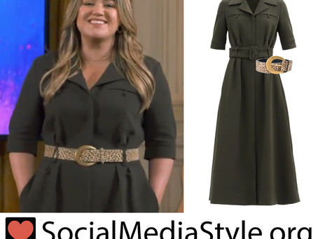 Kelly Clarkson's dark green shirtdress and leopard print belt from The Kelly Clarkson Show