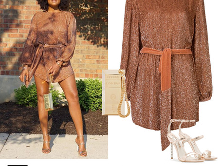Taraji P. Henson's bronze sequin dress, gold bar bag, and crystal heel sandals from the BET Awards