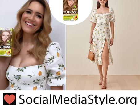 Mandy Moore's Garnier Nutrisse hair color and lemon print dress