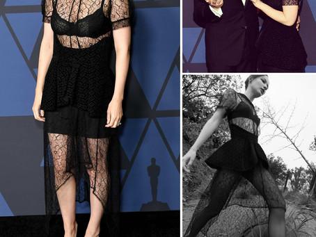 Kate Mara's black lace puff sleeve dress