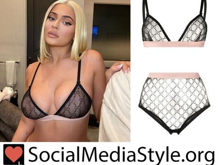 Kylie Jenner's Gucci monogram mesh lingerie