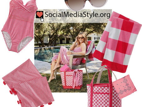 Reese Witherspoon's Draper James x Lands' End pink gingham swimsuit and accessories