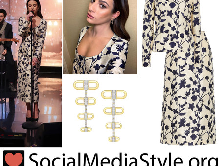 Lea Michele's earrings and floral jacquard top and skirt from Live with Kelly and Ryan