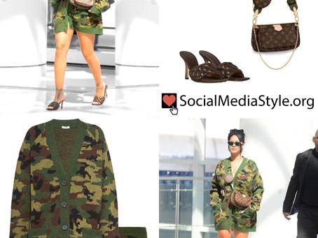 Rihanna's camo cardigan outfit