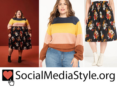 Chrissy Metz's striped sweater and floral print skirt