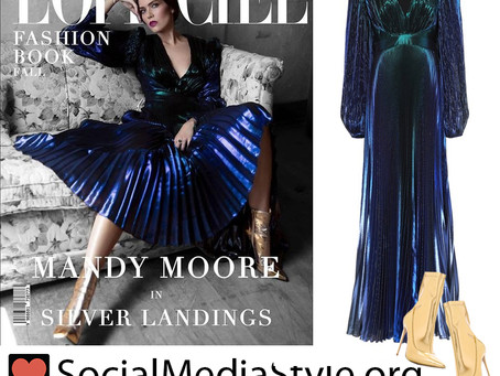 Mandy Moore's metallic blue pleated dress and gold ankle boots from L'Officiel Australia