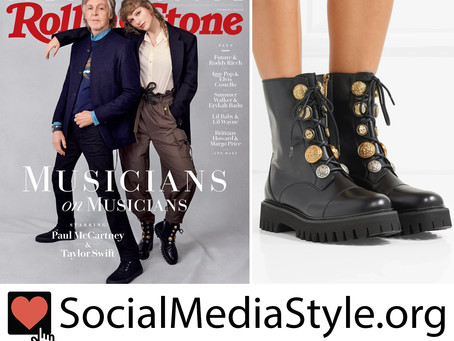 Taylor Swift's button embellished combat boots from Rolling Stone