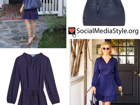 Reese Witherspoon's Draper James blue dot dress and reversible laser Cut bag