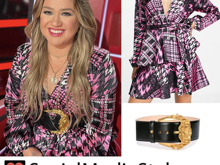 Kelly Clarkson's pink houndstooth dress and black belt from The Voice