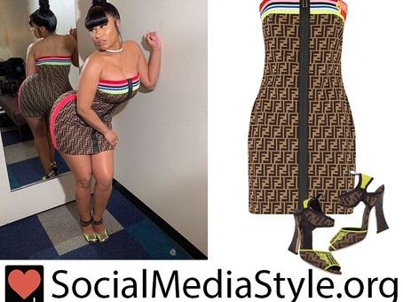 Nicki Minaj's Fendi strapless dress and sandals