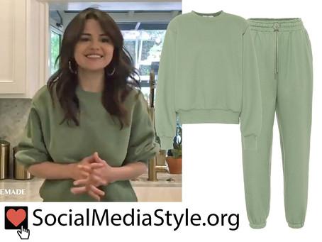 Selena Gomez's green sweatshirt and sweatpants from Selena + Chef